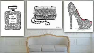 Set of 3 fashion Art print perfume  bottle High heels handbag grey Glitter A4 G3