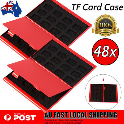 Portable Double Aluminium Case For 24TF Cards Memory Card Case Holder AU(Red)