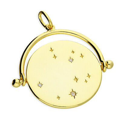 9ct Yellow Gold on Silver Star Night Sky Spinner Pendant Necklace