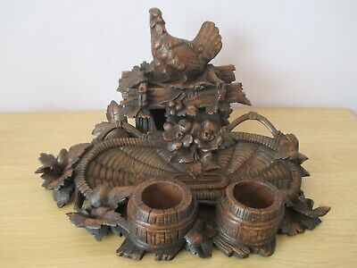 "Large 12"" Quality Antique Black Forest Hen Inkwell  Swiss Wood Carving"