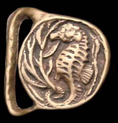 NA08146 *NOS* VINTAGE 1970s ***SEAHORSE AND SEAWEED*** SOLID BRASS BUCKLE