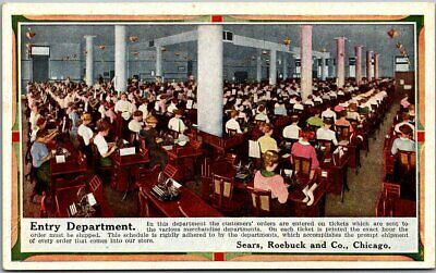 """1910s SEARS ROEBUCK CO. Postcard """"Entry Department"""" Office Interior View Unused"""