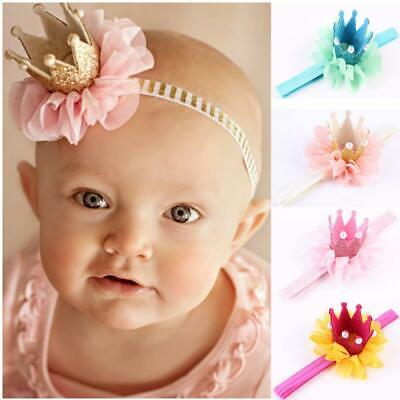 Infant Flower Lace Baby Headband Crown Hair Band Pearl Tiara Headwear