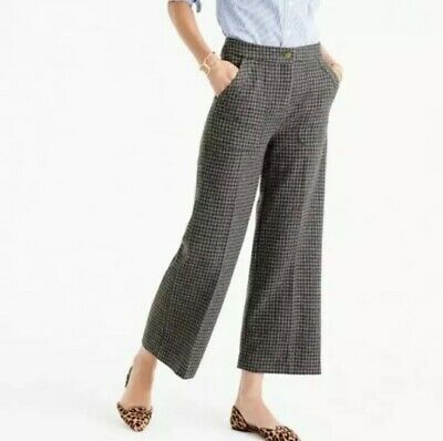 NWT J.Crew F9557 Sz 16 wool wide leg lined Crop pant gray blue brown houndstooth
