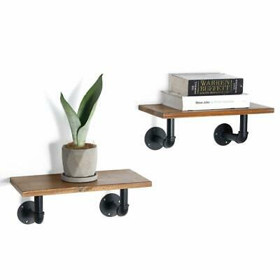 Ticco Rustic Floating Shelves,Industrial Pipe Brackets with Actual Light Wood Sh