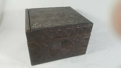 Antique Chip Carved Folk Art Black Forest Wood Chest Box Jewelry Cash safe Box