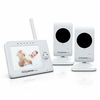 Upgraded - Babysense Video Baby Monitor 3.5 Inch Screen with 2 Cameras (White) -