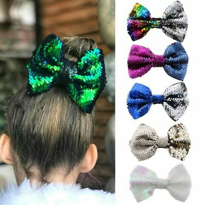 Children Cute Floral Rainbow Baby Bow Hairpin Flipper Sequins Hair Clip Mermaid