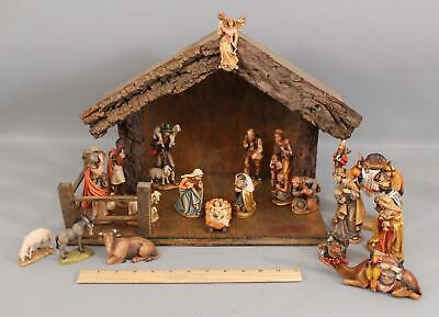 21Pc Hand Carved Wood PEMA Kostner Complete Nativity Set Christmas Holy Family