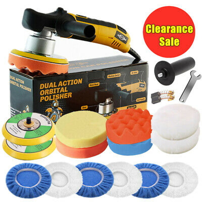 "6"" Dual Action Orbital Car Polisher Buffer Polishing Machine w/ Bonnet Pads Kit"
