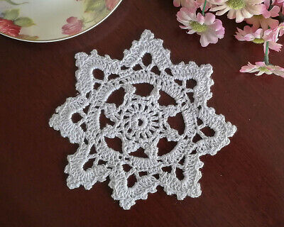 Pure Cotton Hand Crochet Lace Doily Crocheted Doilies Mat Round 15CM White FP02