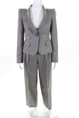 Giorgio Armani Womens Houndstooth Wide Leg Pants Suit Gray Size IT 38 40