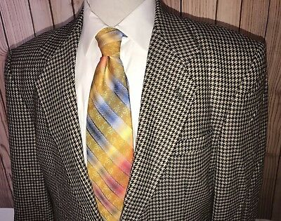 Tom James Investment Collection Sport Coat Blazer Tan Black Houndstooth Sz 43L