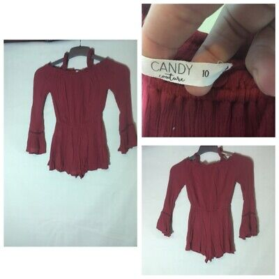 Candy Couture Girls Red Brown Viscose Dress Pants Age10(A204)