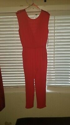 Womens Red Sleeveless Evening Jumpsuit. Size med. Zipper detailing on shoulder.