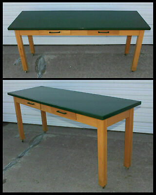 Old 6' Oak Wood 2 Drawer Library Office Sofa Table Green Painted Top