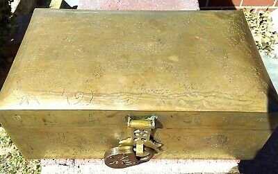 """Antique Chinese Dragon Metal Box+ Lock☆ 9.5""""L☆ Hand Etched Brass ☆ A Treasure!"""