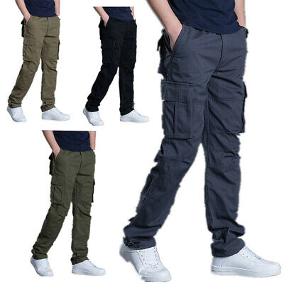 Mens Cargo Combat Trousers lightweight Cotton Work Bottoms Pants Elasticated
