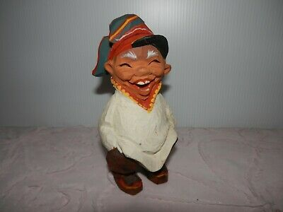 """Vintage Henning Hand Carved Wood Happy Troll Smiling with Hat 5 1/2"""""""