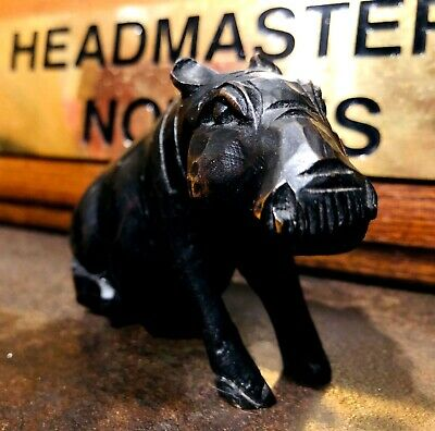 Black Forest Antique Carved Miniature Wooden Hippo