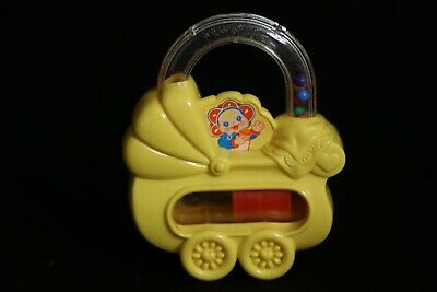 Playskool 1989 Yellow Baby Carriage Rattle Toy