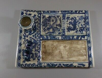 Antique Chinese Blue and White Calligraphy Ink Slab with Brush Rack and Ink Pot.