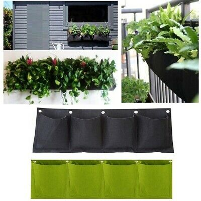 4 Pocket Vertical Growing Bag Hanging Wall Garden Plant Pot Planter Bags UK