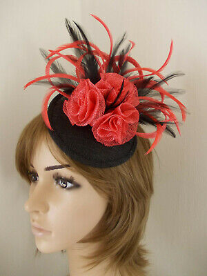 Black Coral Red Orange tone sinamay fascinator feathers flowers 2 hair clips