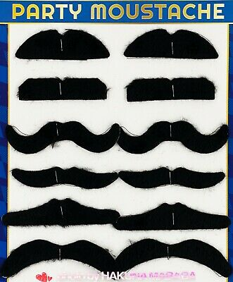 12pc Fake Moustache Costume Self Adhesive Party Accessories beard black assorted