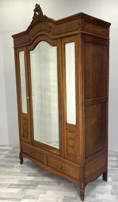 Impressive Antique French Rocaille  Armoire Wardrobe with mirrors