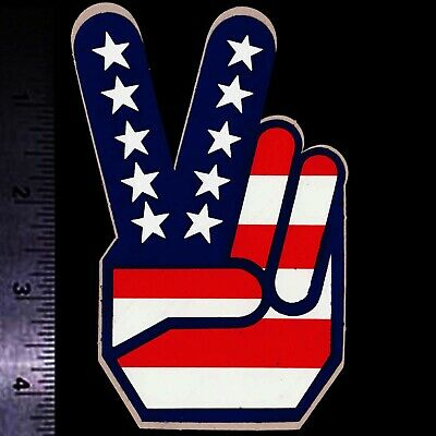 PEACE SIGN American Flag - Original Vintage 1960's 70's Racing Decal/Sticker