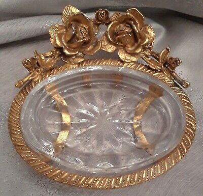 Beautiful Stylebuilt Gold & Starburst Glass Footed Soap Dish with Roses