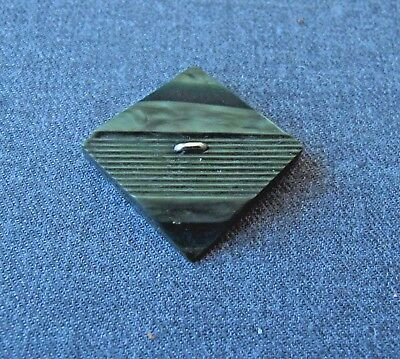ANTIQUE 1920s ART DECO MACHINE AGE MARBLED GREEN GALALITH CHROMED METAL APPLIQUE