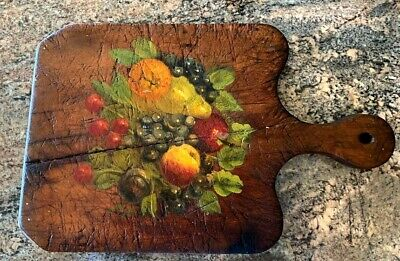 * Antique Wood Rustic Primitive Cutting Board w Painting
