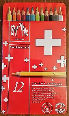 CARAN D'ACHE - Artist Water Soluble Colour Pencils - 12 Piece Set in Tin
