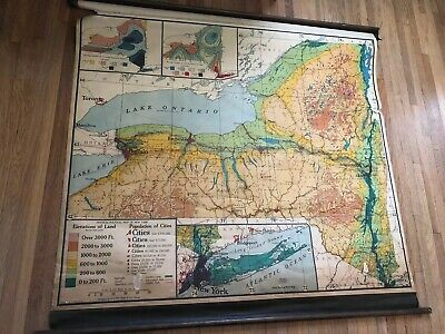 Vintage New York State Map A.J. Nystrom School Pull Down Roller Map NICE