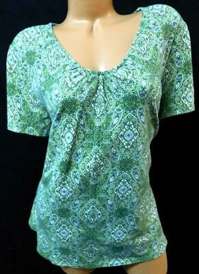 Charter club green floral paisley print ruched v neck short sleeve top 2X