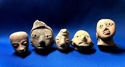 Group of 5 Ancient Pre-Columbian Terracotta Heads