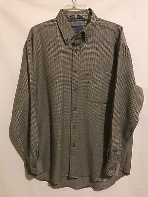 Sir Pendleton Shirt Mens Size Large 100% Worsted Wool B&W Houndstooth Plaid