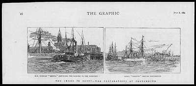 1882 Antique Print - HAMPSHIRE PORTSMOUTH NAVAL DOCKYARD WAR PREPARATIONS (151)