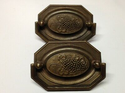 2 Antique Vintage Brass Grape Vine Wine Victorian Furniture Pull Parts
