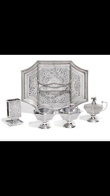 Rare RUSSIAN Solid SILVER & NIELLO SMOKING SET ANTIP KUZMICHEV MOSCOW 1899-1908