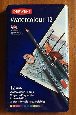 Derwent. Watercolour Pencils. Artist Quality. 12 Pack Set in Tin.