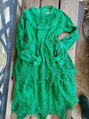 Rare* TRISH SCULLY girls SZ 10 GREEN eyelet duct lace detailed lined Dress