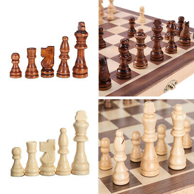 Folding Large Chess Wooden Set Chessboard Magnetic Pieces Wood Board Gift Toy UK
