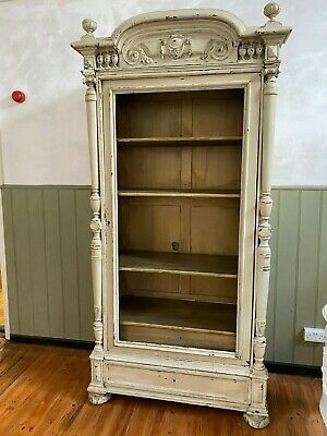 Wonderful antique French painted armoire, display cabinet, cupboard