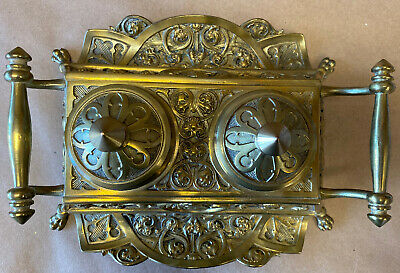Antique Brass Bronze Double Inkwell Stand Ornate Lion Foot with glass inserts