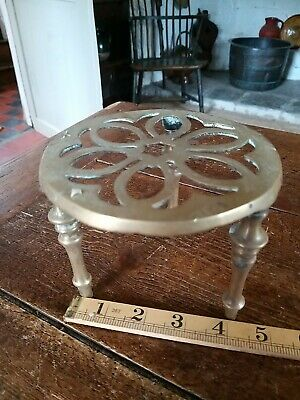 Antique Brass Small Trivet Cake Stand Vintage Kettle Victorian Pan Pot Holder