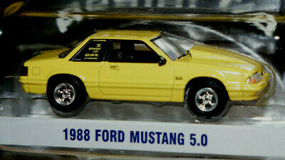 1988 ford mustang 5.0 foxbody w/ cowl hood 1/64 scale diecast greenlight ad cars