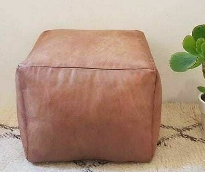 Moroccan square leather pouf, berber Moroccan ottoman poof, Footstool chair